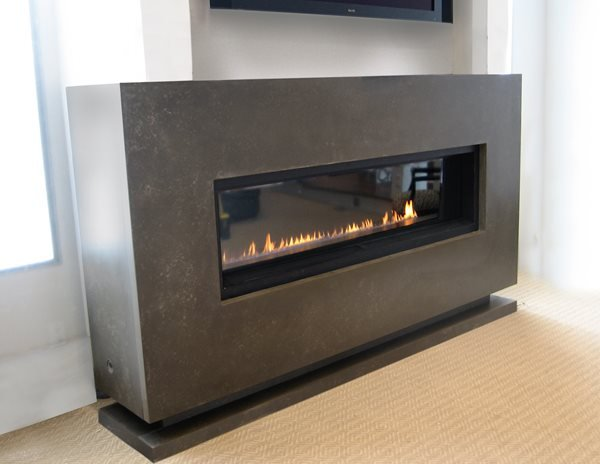 Modern Fireplace, Linear Gas Burner Fireplace Surrounds Trueform Concrete Wharton, NJ