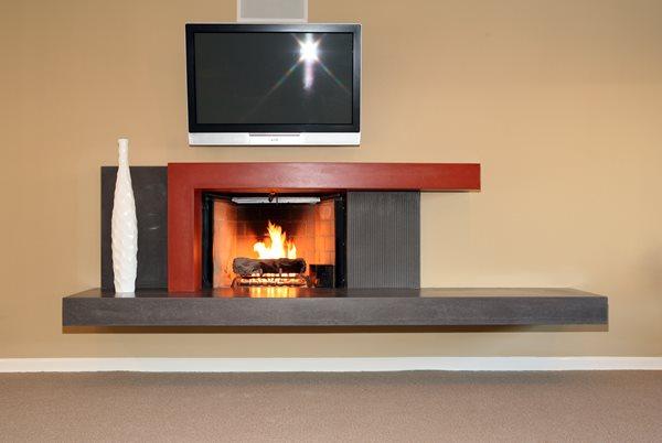 Modern, Slate Gray Fireplace Surrounds Pourfolio Custom Concrete San Diego, CA