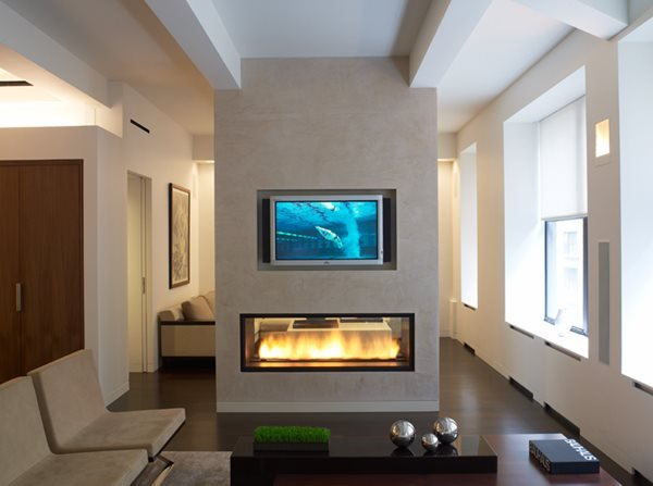 Modern Two Sided Gas Fireplace Fireplace Surrounds Get Real Surfaces Poughkeepsie, NY