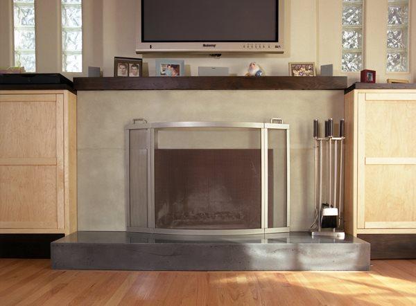 Sleek, Clean Fireplace Surrounds California Concrete Designs Anaheim, CA