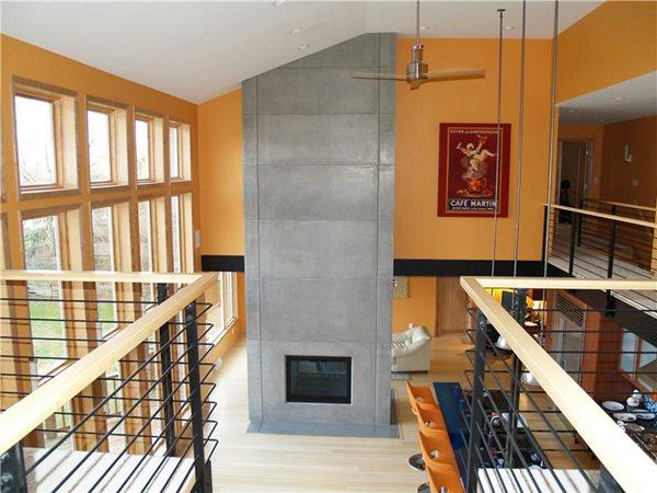 Tall Gray, Panels Fireplace Surrounds Custom Crete Werks LLC Racine, WI