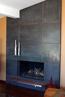 Tall, Sleek Fireplace Surrounds CRAWFORD + SZCZECH CONCRETE INTERIORS Phoenix, AZ