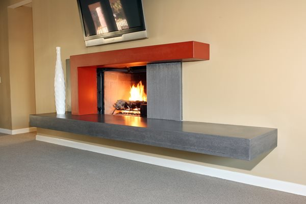 Two Tone, New Age Fireplace Surrounds Pourfolio Custom Concrete San Diego, CA