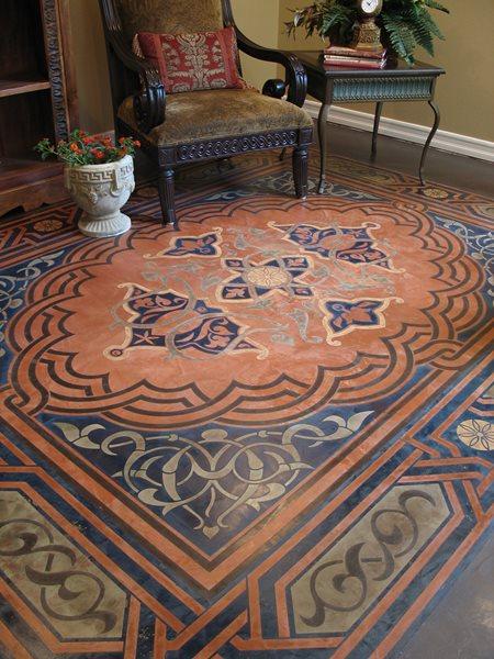 Concrete Floor Stencil, Modello Stenciled Floor, Stenciled Concrete Floor Floor Logos and More Modello Designs Chula Vista, CA