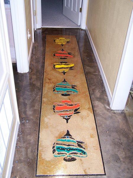 Fish, Colorful Floor Logos and More Concrete Wonders LLC Pensacola, FL
