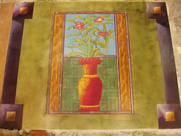 Flowers, Painted Floor Logos and More Decorative Concrete Institute Temple, GA