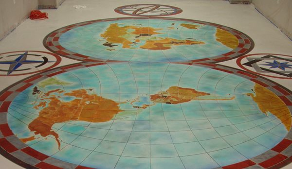 Map, Colored Floor Logos and More Decorative Concrete Institute Temple, GA