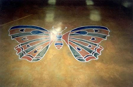 Multi Colored, Stencil Floor Logos and More Brooks Construction Services, Inc. Sioux Falls, SD