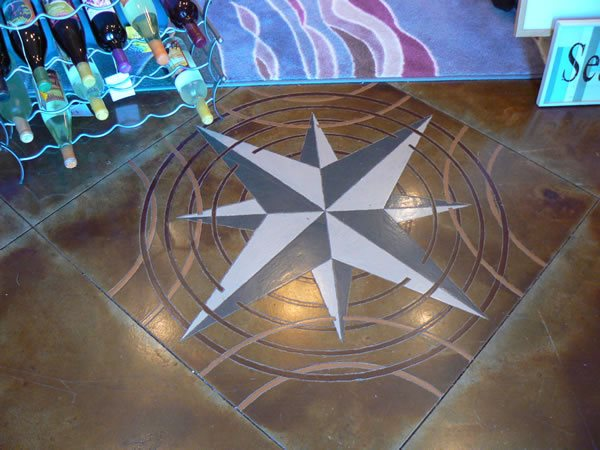 Stained Concrete Floor Logos and More KW Construction Chehalis, WA