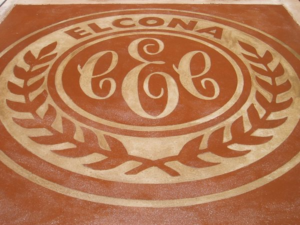 Stenciled, Stained Floor Logos and More Concreations, LLC Millersburg, IN