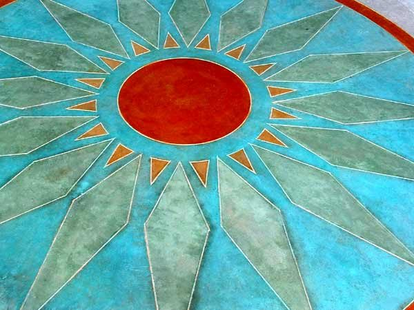 Vivid Colors, Texas Stained Concrete Floor Logos and More Applied Color Concrete Wimberley, TX