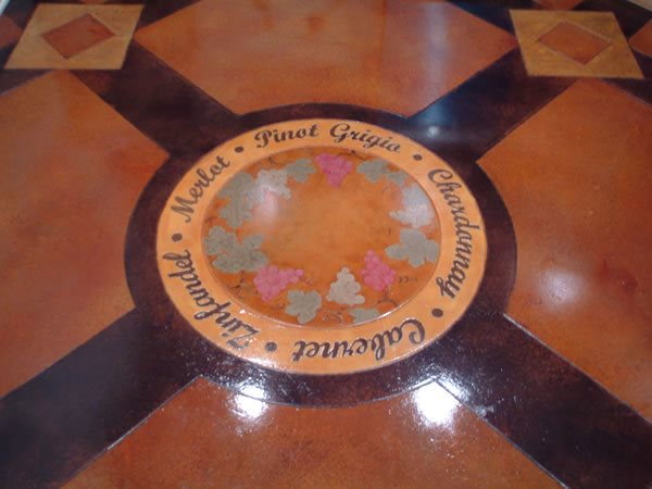 Wine, Grapes, Stenciled Floor Logos and More Designing Concrete Inc Woodstock, IL