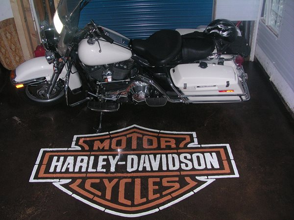 Black, Harley Davidson Logo Garage Floors Cutting Edge Creations Southgate, MI