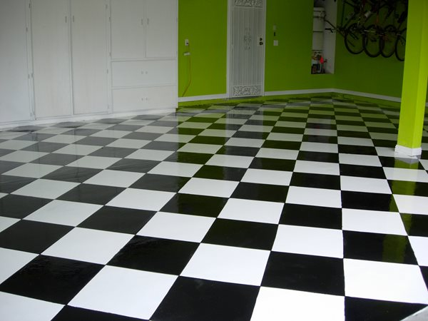 Black & White, Checkerboard Garage Floors Magic Koncrete Design Hesperia, CA