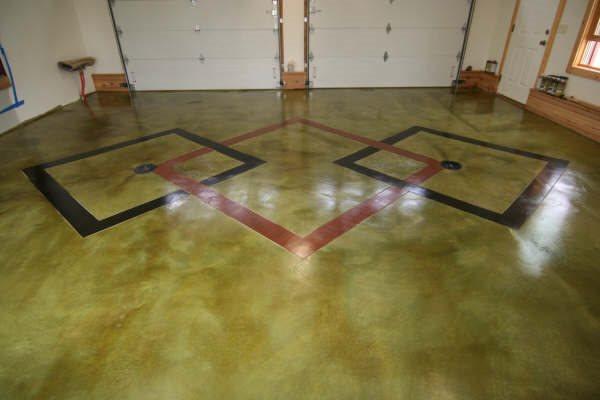 Diamond Pattern Concrete Floor, Garage Floor Pattern, Colored Garage Floor Garage Floors Special Effex Loves Park, IL