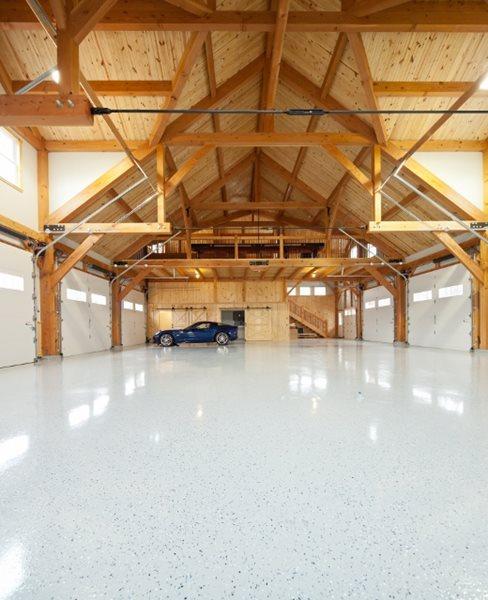 Light Colored Garage Floor Coating, Black Specks Garage Floors Reformed Concrete LLC Quarryville, PA