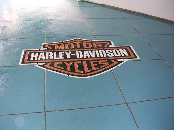 Teal, Harley Davidson Garage Floors Cutting Edge Creations Southgate, MI