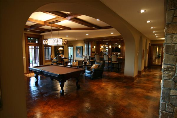Brown, Pool Table Get the Look - Interior Overlays Concrete Arts Hudson, WI