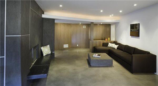 Living Room Concrete Floors Gray Floors Modal Design Los Angeles, CA