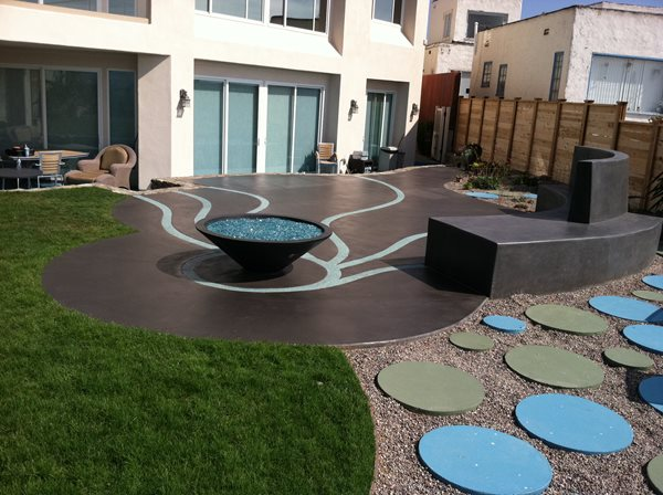 Artistic Patio, Blue Concrete Outdoor Fire Pits Suncoast Concrete Coatings Inc San Diego, CA
