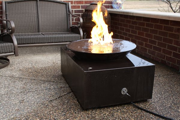 Black Concrete, Fire Pit, Modern Outdoor Fire Pits Living Stone Concrete Design Candler, NC
