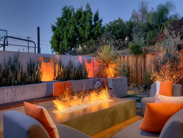 Fire Pit, Trough Design Outdoor Fire Pits Conscapes San Carlos, CA