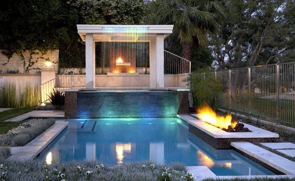 Poolside, Rectangle Outdoor Fire Pits The Green Scene Chatsworth, CA