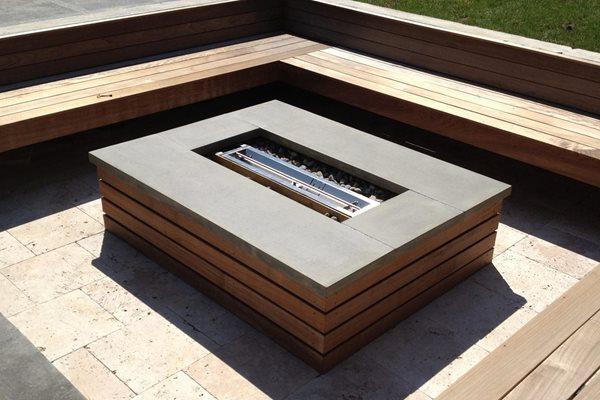 Square Fire Pit, Concrete Cap Outdoor Fire Pits Lustrous Design LTD Chagrin Falls, OH