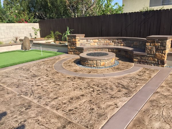 Stamped Concrete, Backyard Makeover, Fire Pit Outdoor Fire Pits KB Concrete Staining Norco, CA