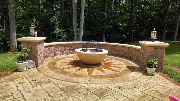 Sun Design, Fire Pit, Stamped Patio, Medallion Outdoor Fire Pits Greystone Masonry Inc Stafford, VA