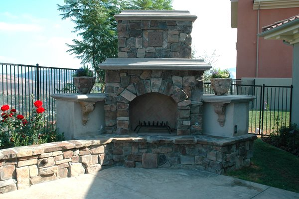 Extended Hearth, Tri Level Outdoor Fireplaces The Green Scene Chatsworth, CA