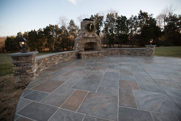 Faux Slate, Seat Walls Outdoor Fireplaces Salzano Custom Concrete Aldie, VA