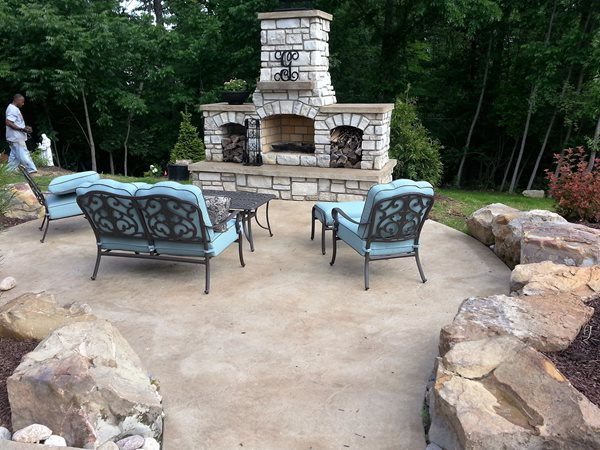 Fireplace Patio, Boulders, Textured Concrete Outdoor Fireplaces Roman Creations Foristell, MO
