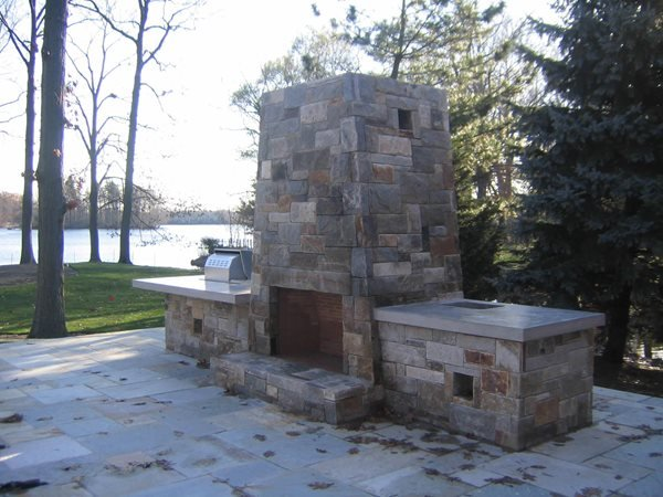 Natural, Stone Outdoor Fireplaces Silvermine Workshop Wilton, CT
