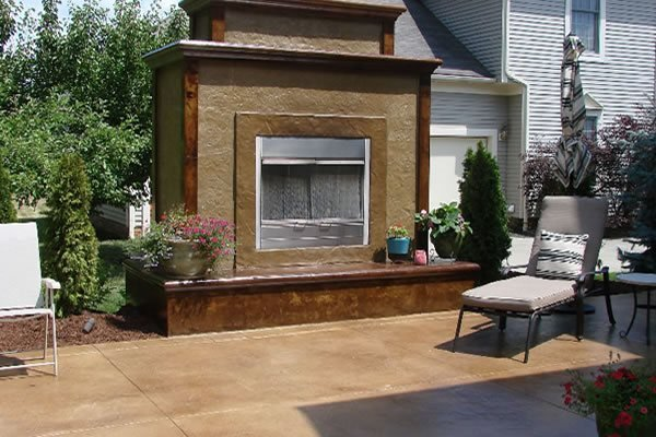Vertical Overlay Outdoor Fireplaces Cornerstone Concrete Designs Orrville, OH