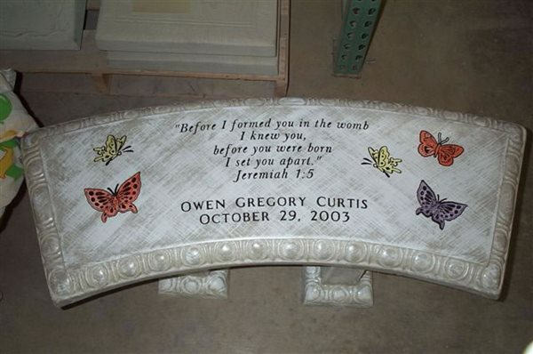 Curved Bench, Writing Outdoor Furniture Know Fier LLC Clinton, IA