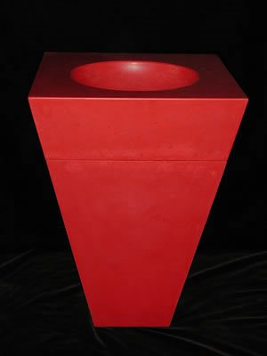 Red, Trash Can Outdoor Furniture Flying Turtle Cast Concrete Modesto, CA