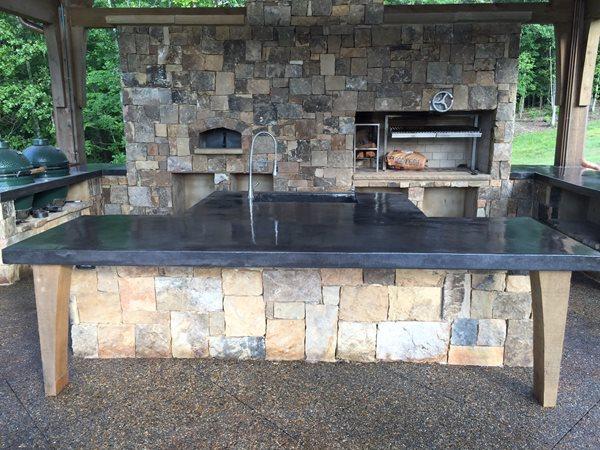 Backyard Smokehouse, Charcoal Concrete Countertop Outdoor Kitchens Amazing Concrete Inc Aliso Viejo, CA