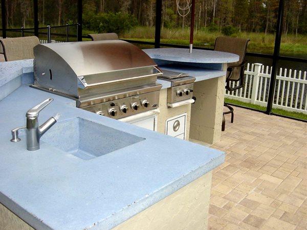 Bbq, Blue Outdoor Kitchens Concrete -N- Counters Lutz, FL