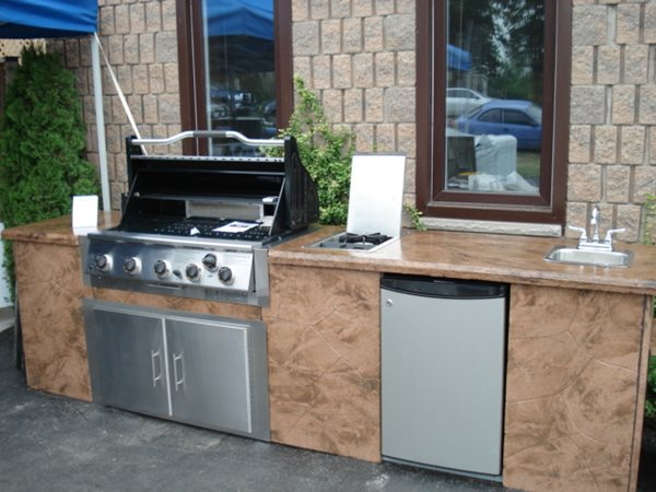 Brown Outdoor Barbecue, Textured Outdoor Countertop Outdoor Kitchens Jeff Darling Concrete Design Exeter, ON