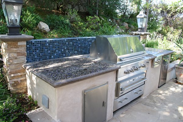 Embedded Glass Chips Outdoor Kitchens The Green Scene Chatsworth, CA