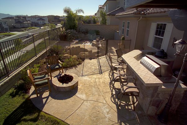 Natural Stone, Fire Pit Outdoor Kitchens Davis Colors Los Angeles, CA