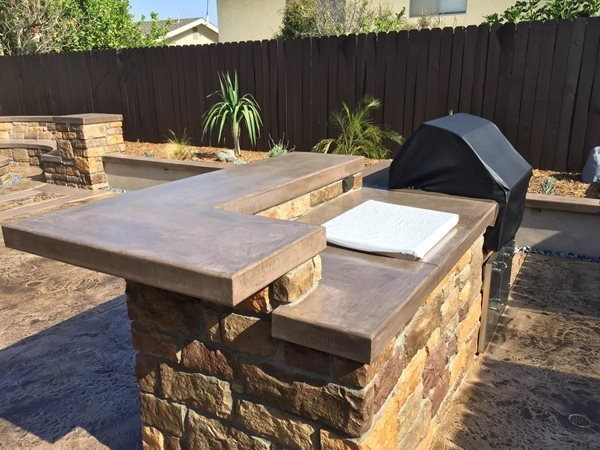 Outdoor Countertop, Integral Color Outdoor Kitchens KB Concrete Staining Norco, CA