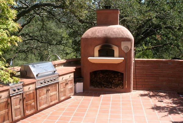 Red Pizza Stove Picture Outdoor Kitchens Tom Ralston Concrete Santa Cruz, CA