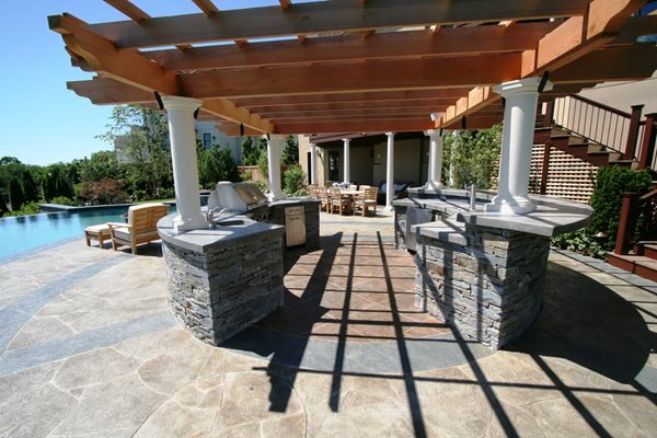 Stone, Gray Outdoor Kitchens New England Hardscapes Inc Acton, MA