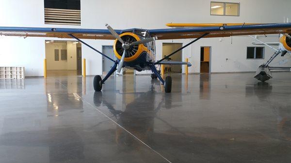 Gray Concrete, Polished Concrete, Airplane Hangar Polished Concrete Deco-Pour/Harvey Construction Inc Everett, WA