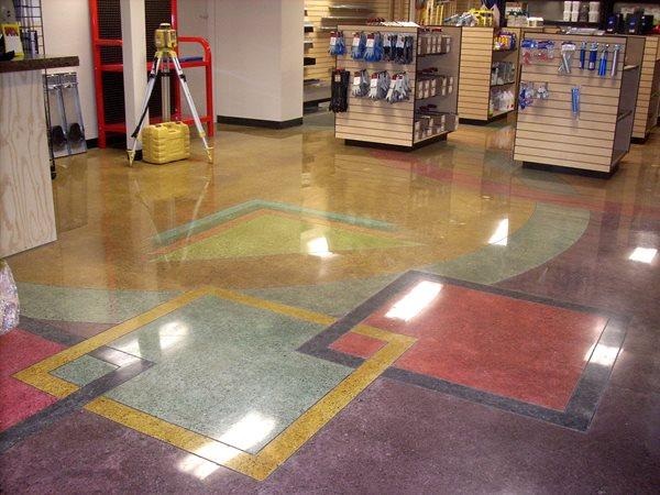 Polished Floor, Hardware Store Floor, Purple Polished Concrete Diamond Polishing Systems Puyallup, WA