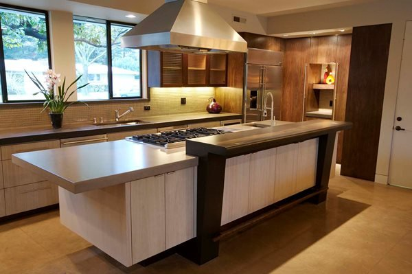 Brown Grey Counter, Stovetop Site Flying Turtle Cast Concrete Modesto, CA