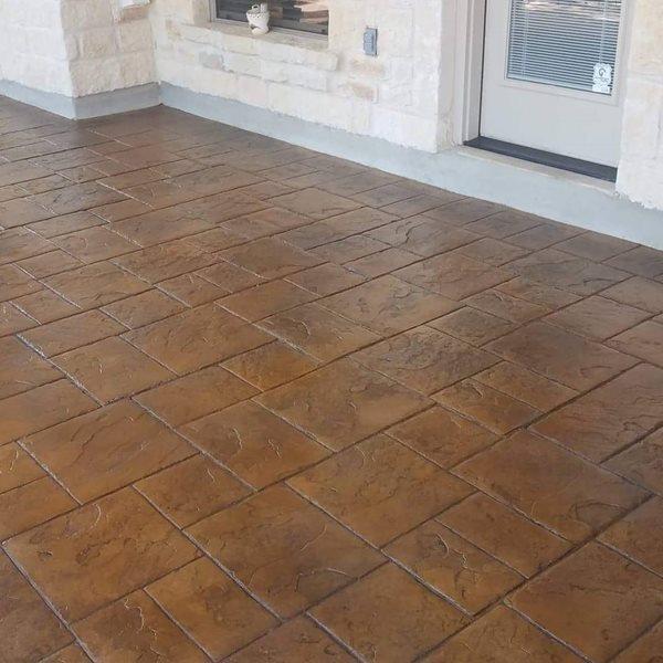 Brown Patio, Stamped Patio Site Viking Decorative Concepts Austin, TX