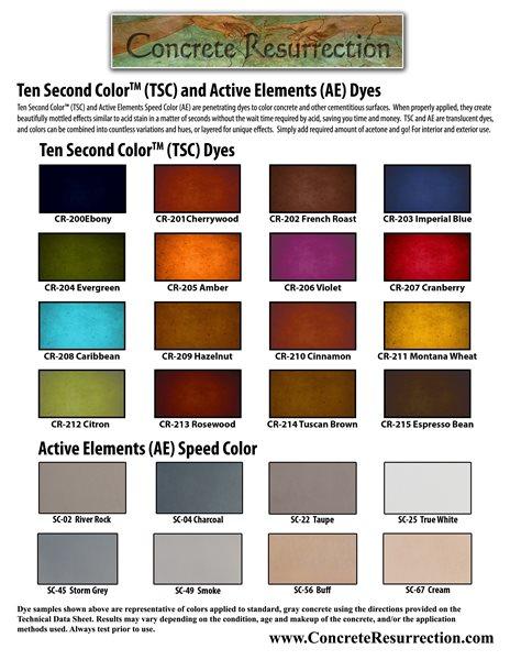 Color Chart, Concrete Dye, Ten Second Color Site Engrave-A-Crete Mansfield, MO